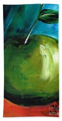 Beach Towel featuring the painting Green Apple by Jolanta Anna Karolska