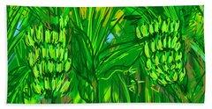 Beach Towel featuring the digital art Green Bananas by Jean Pacheco Ravinski