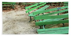 Green Benches- Fine Art Photo By Linda Woods Beach Towel by Linda Woods