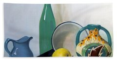 Arrangement With Green Bottle Beach Towel