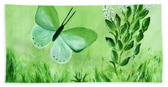 Beach Towel featuring the painting Green Butterfly by Sonya Nancy Capling-Bacle