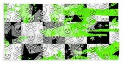 Green Checker Skull Splatter Beach Sheet by Roseanne Jones