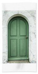 Green Church Door Iv Beach Sheet by Helen Northcott