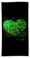 Green Clover Heart Beach Towel