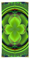Green Clover Beach Towel by Svetlana Nikolova