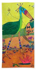 Green Crane With Leggings And Painted Toes Beach Sheet