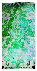 Green Damask Pattern Beach Towel