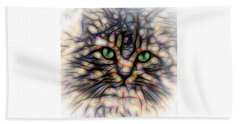 Beach Sheet featuring the digital art Green Eye Kitty Square by Terry DeLuco