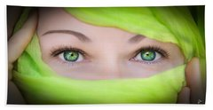 Green-eyed Girl Beach Sheet