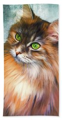 Green-eyed Maine Coon Cat - Remastered Beach Towel