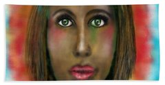 Beach Towel featuring the digital art Green Eyes by Sladjana Lazarevic