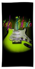 Beach Towel featuring the photograph Green Fender Stratocaster  by Guitar Wacky