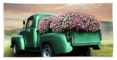 Green Flower Truck Beach Towel by Lori Deiter