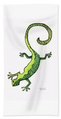Beach Towel featuring the painting Green Gecko  by Darice Machel McGuire