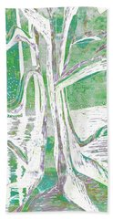 Green-grey Misty Morning River Tree Beach Towel