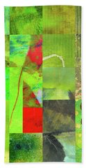 Beach Towel featuring the digital art Green Grid by Nancy Merkle