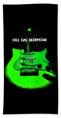 Green Guitar Full Time Occupation Beach Towel