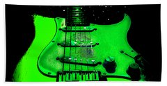 Beach Towel featuring the photograph Green Guitar Full Time Occupation by Guitar Wacky