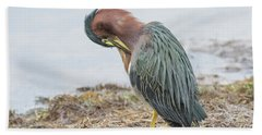 Green Heron 1337 Beach Towel by Tam Ryan
