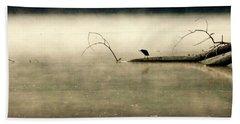 Green Heron In Dawn Mist Beach Towel by Kathy Barney