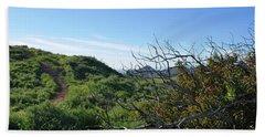 Beach Sheet featuring the photograph Green Hills And Bushes Landscape by Matt Harang