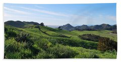Beach Sheet featuring the photograph Green Hills Landscape With Cactus by Matt Harang