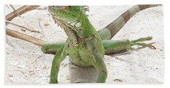 Green Iguana On A Sandy Beach Beach Towel by DejaVu Designs