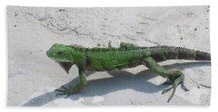 Green Iguana Walking Across A Pathway On The Beach Beach Towel by DejaVu Designs