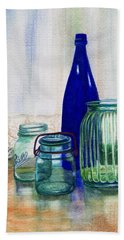 Beach Towel featuring the painting Green Jars Still Life by Marilyn Smith