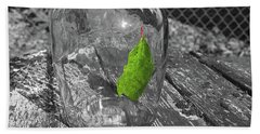 Green Leaf In A Bottle Beach Sheet by John Rossman