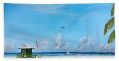 Green Lifeguard On Siesta Key Beach Towel