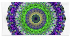 Green Light Mandala Art By Sharon Cummings Beach Towel