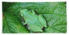 Green Like Me Tree Frog Beach Towel