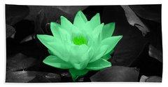 Green Lily Blossom Beach Towel