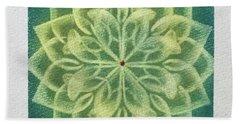 Green Lotus  Beach Towel