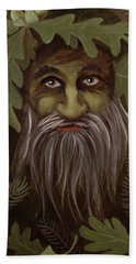 Green Man Painting Beach Towel