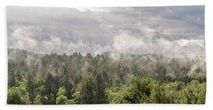 Green Mountains Fog Panoramic Beach Sheet