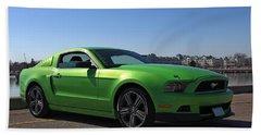Green Mustang Beach Towel