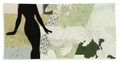 Green Paper Doll Beach Towel