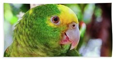 Green Parrot Beach Towel