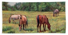 Green Pastures - Horses Grazing In A Field Beach Sheet