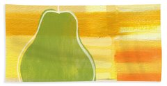 Beach Towel featuring the painting Green Pear- Art By Linda Woods by Linda Woods