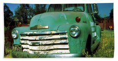 Green Pickup 1959 - American Car Photo Beach Sheet by Art America Gallery Peter Potter