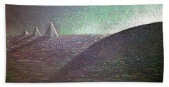 Beach Sheet featuring the drawing Green Pyramid B by Mayhem Mediums