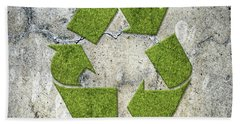 Green Recycling Sign On A Concrete Wall Beach Towel by GoodMood Art