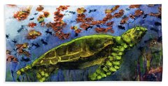Green Sea Turtle Beach Towel by Randy Sprout