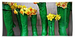 Green Shoes For Yellow Spring Flowers Beach Towel