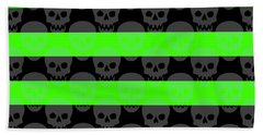 Green Skull Stripes Beach Towel