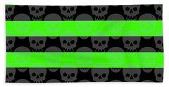 Green Skull Stripes Beach Towel by Roseanne Jones
