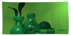 Beach Towel featuring the digital art Green Still Life by Alberto RuiZ
